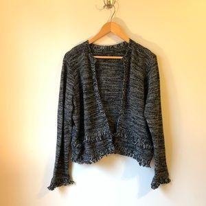 Tahari Fringe Open Blazer Cardigan Sweater